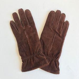VINTAGE Brown Pig Suede Leather Gloves L